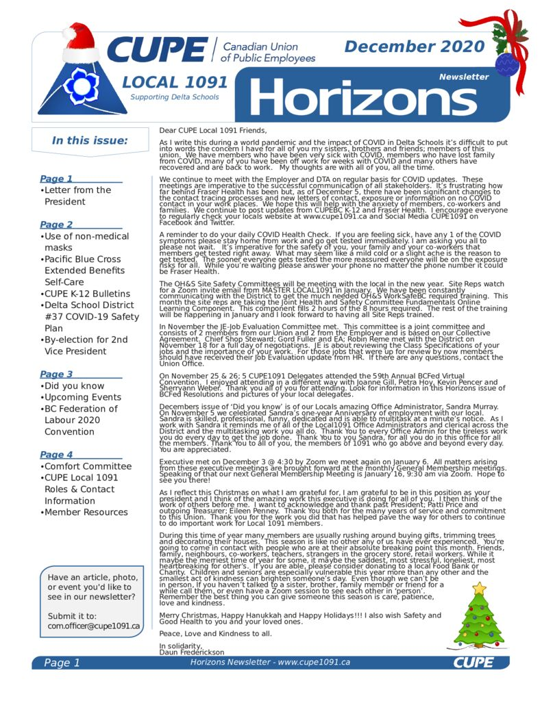thumbnail of CUPE Local 1091 – Horizons Newsletter – December 2020