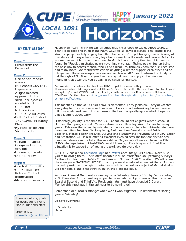 thumbnail of CUPE Local 1091 – Horizons Newsletter – January 2021