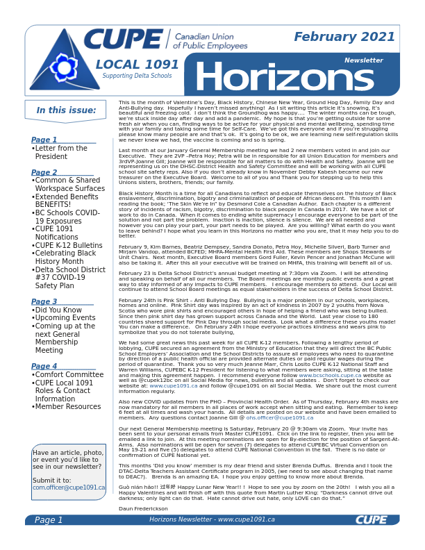 thumbnail of CUPE Local 1091 – Horizons Newsletter – February 2021