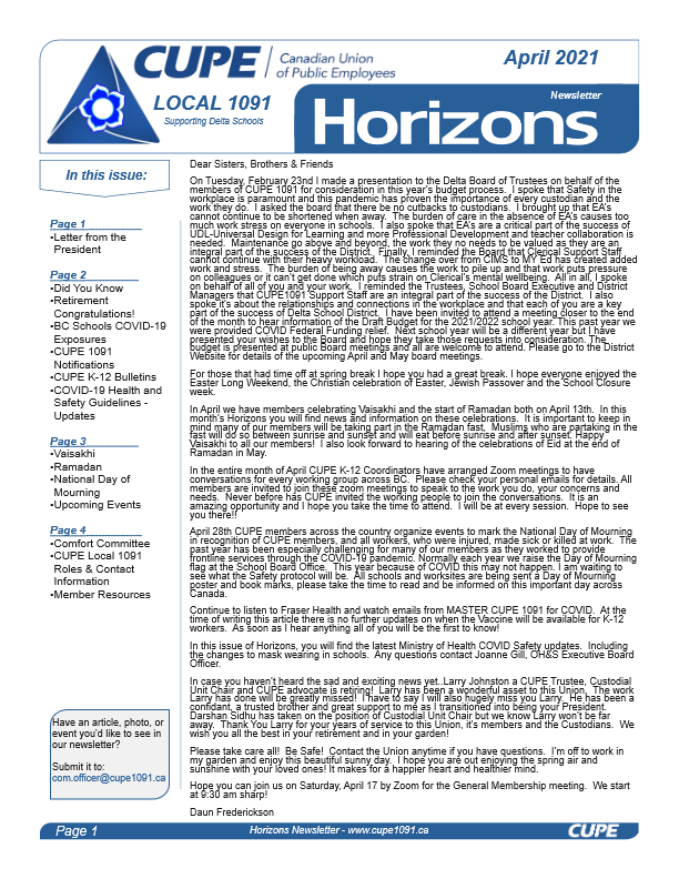 thumbnail of CUPE Local 1091 – Horizons Newsletter – April 2021