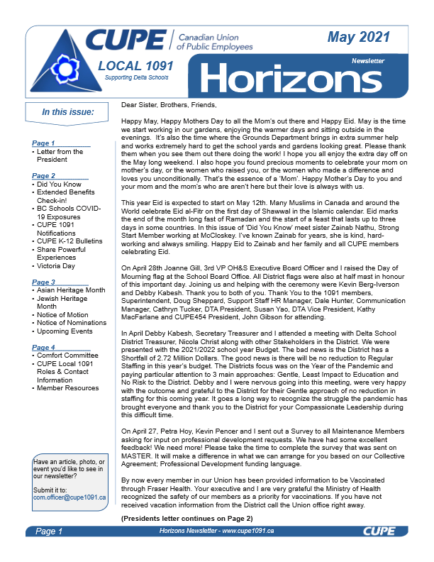 thumbnail of CUPE Local 1091 – Horizons Newsletter – May 2021