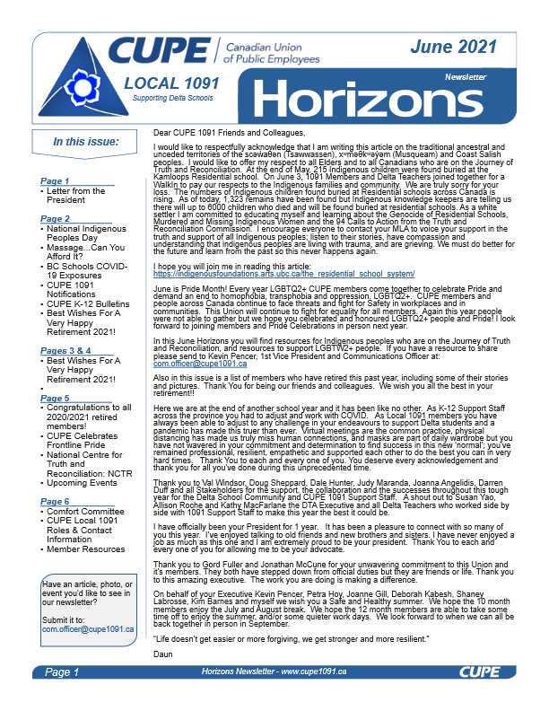 thumbnail of CUPE Local 1091 – Horizons Newsletter – June 2021