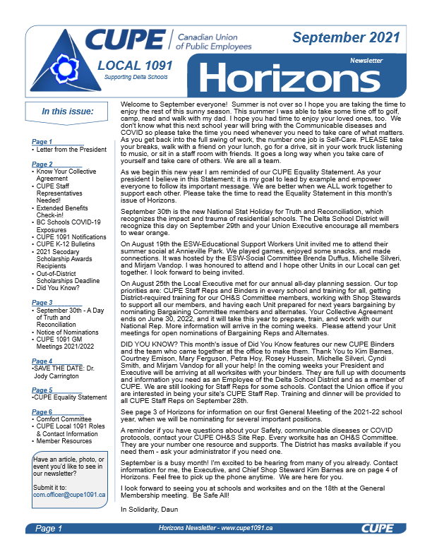 thumbnail of CUPE Local 1091 – Horizons Newsletter – September 2021